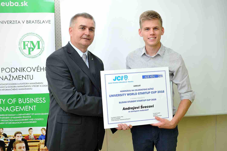 víťaz minulého roka Slovak University Start Up Cup - Andrej Švec z FIITky