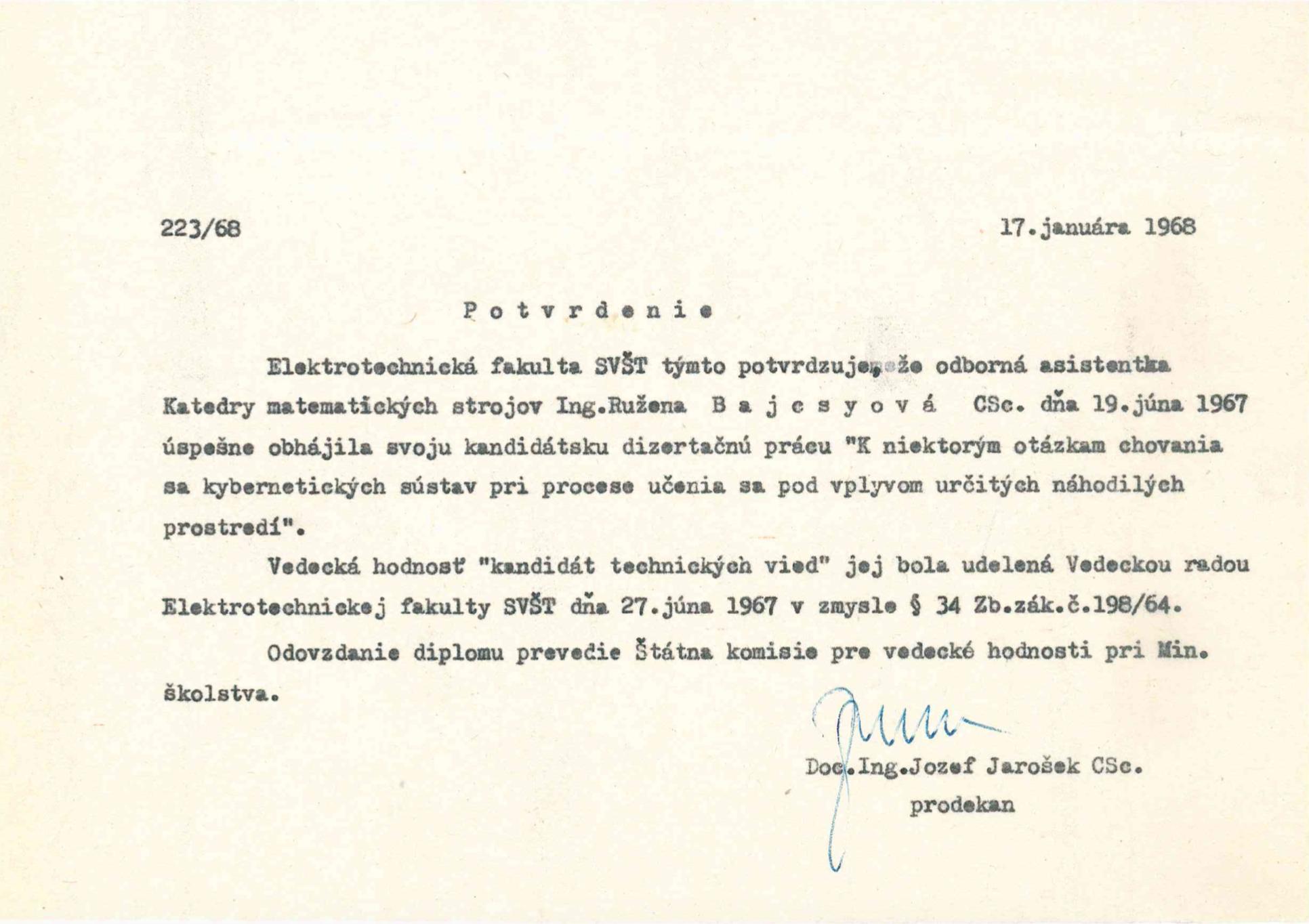 Potvrdenie o doktoráte Ruženy Bajcsyovej na SVŠT